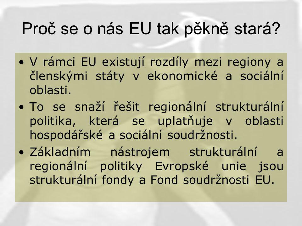 Strukturální politika podporuje: - vyvážený rozvoj regionů –snižování nezaměstnanosti a rozvoj lidských zdrojů –snižování regionálních disparit –ochranu životního prostředí –zabezpečení rovných příležitostí pro muže i ženy
