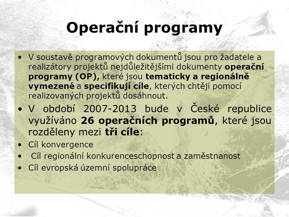 Operační programy V soustavě programových dokumentů jsou pro žadatele a realizátory projektů nejdůležitějšími dokumenty operační programy (OP), které jsou tematicky a regionálně vymezené a specifikují cíle, kterých chtějí pomocí realizovaných projektů dosáhnout.