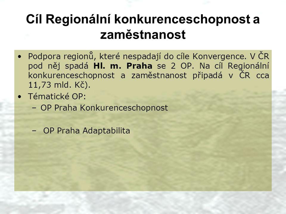 Cíl Regionální konkurenceschopnost a zaměstnanost Podpora regionů, které nespadají do cíle Konvergence.