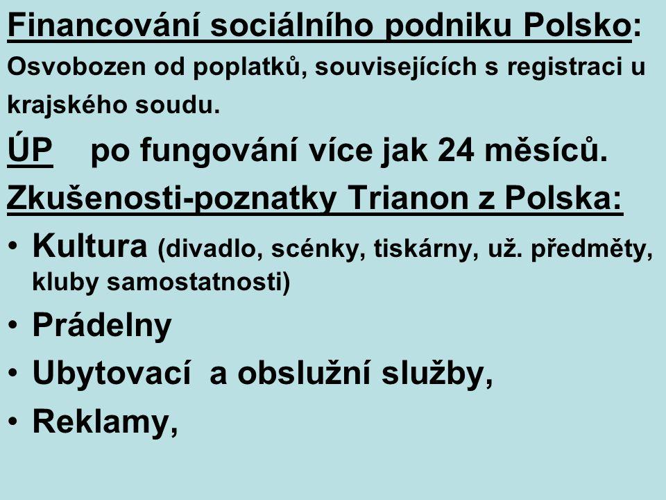 Financování sociálního podniku Polsko: Osvobozen od poplatků, souvisejících s registraci u krajského soudu.