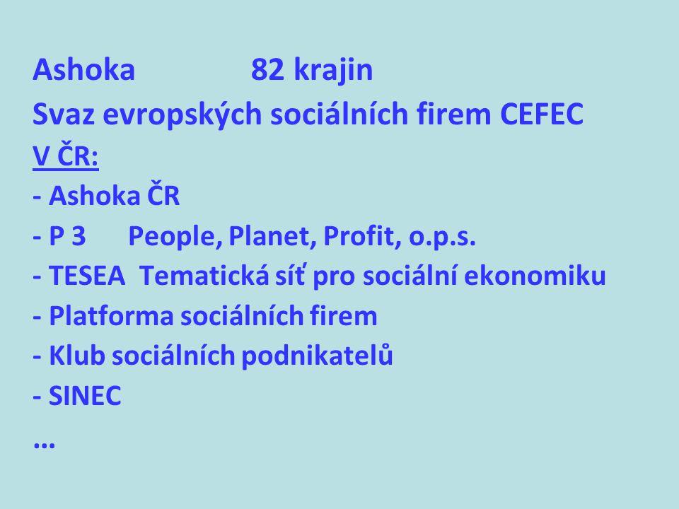 Ashoka 82 krajin Svaz evropských sociálních firem CEFEC V ČR: - Ashoka ČR - P 3 People, Planet, Profit, o.p.s.