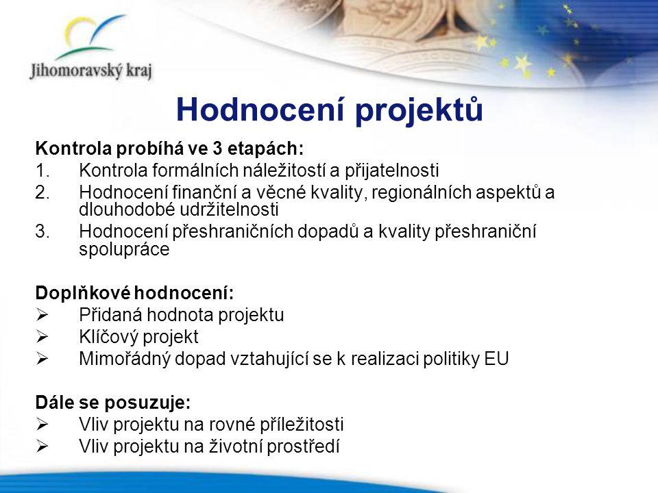 Hodnocení projektů Kontrola probíhá ve 3 etapách: 1.Kontrola formálních náležitostí a přijatelnosti 2.Hodnocení finanční a věcné kvality, regionálních aspektů a dlouhodobé udržitelnosti 3.Hodnocení přeshraničních dopadů a kvality přeshraniční spolupráce Doplňkové hodnocení:  Přidaná hodnota projektu  Klíčový projekt  Mimořádný dopad vztahující se k realizaci politiky EU Dále se posuzuje:  Vliv projektu na rovné příležitosti  Vliv projektu na životní prostředí