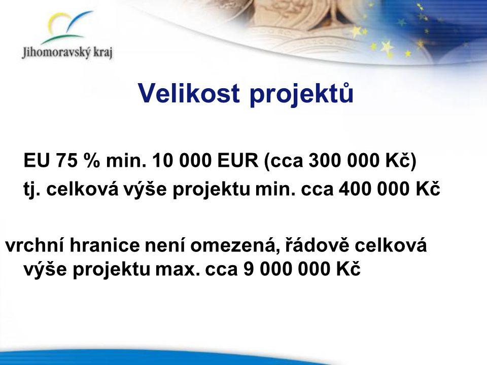Velikost projektů EU 75 % min.10 000 EUR (cca 300 000 Kč) tj.