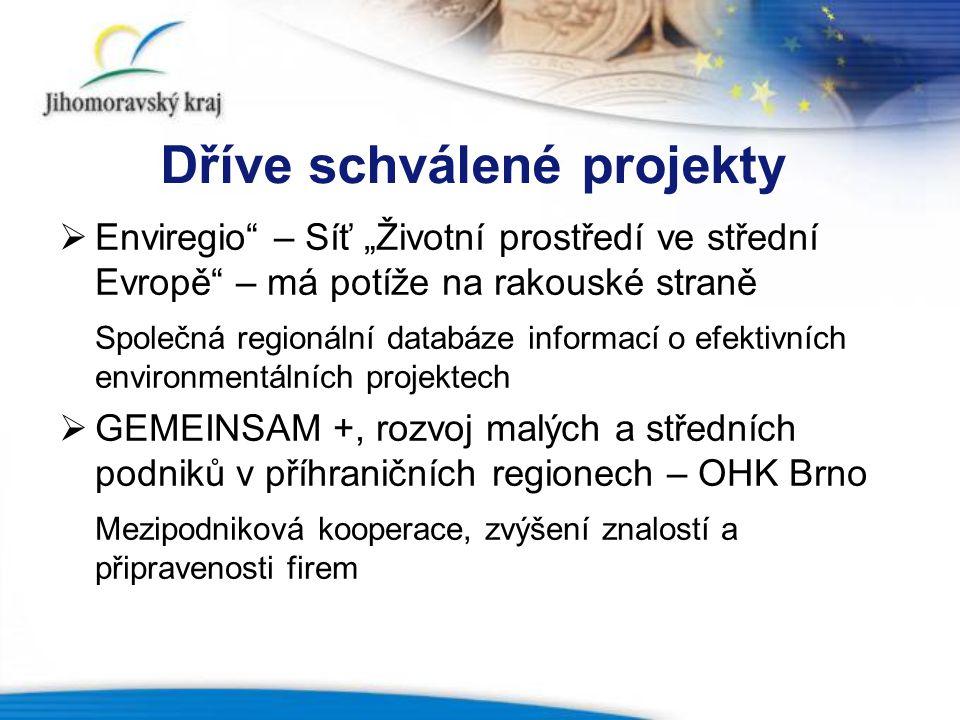 """Dříve schválené projekty  Enviregio – Síť """"Životní prostředí ve střední Evropě – má potíže na rakouské straně Společná regionální databáze informací o efektivních environmentálních projektech  GEMEINSAM +, rozvoj malých a středních podniků v příhraničních regionech – OHK Brno Mezipodniková kooperace, zvýšení znalostí a připravenosti firem"""