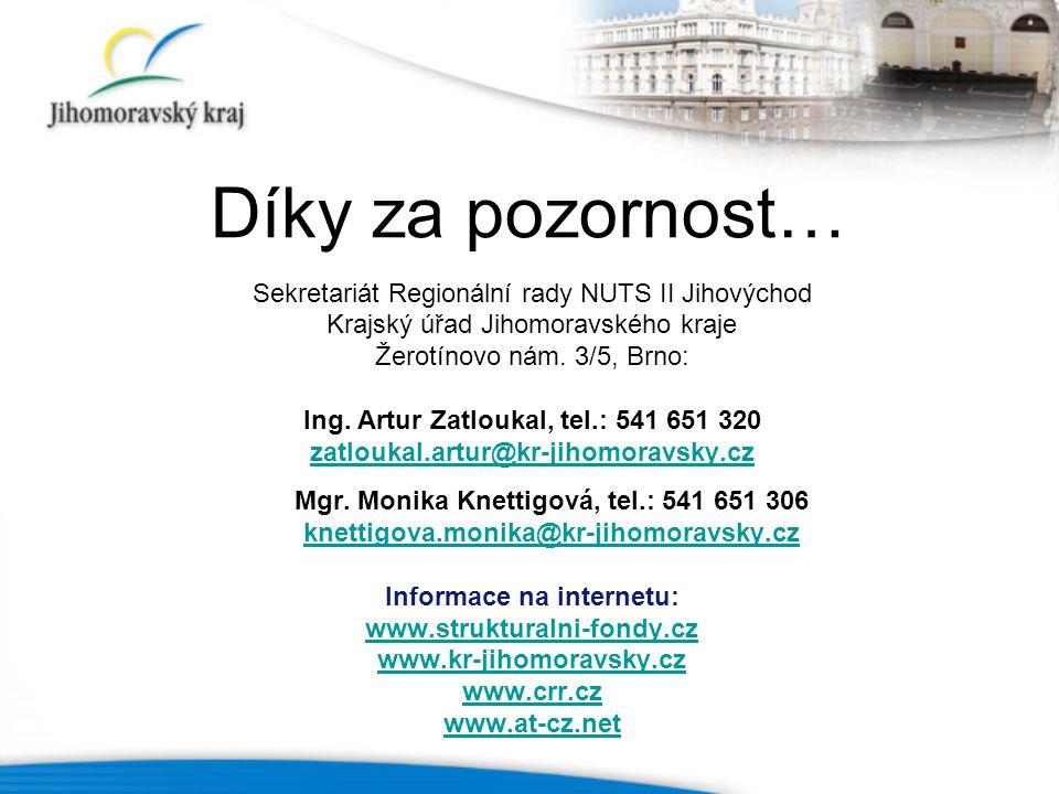 Díky za pozornost… Sekretariát Regionální rady NUTS II Jihovýchod Krajský úřad Jihomoravského kraje Žerotínovo nám.