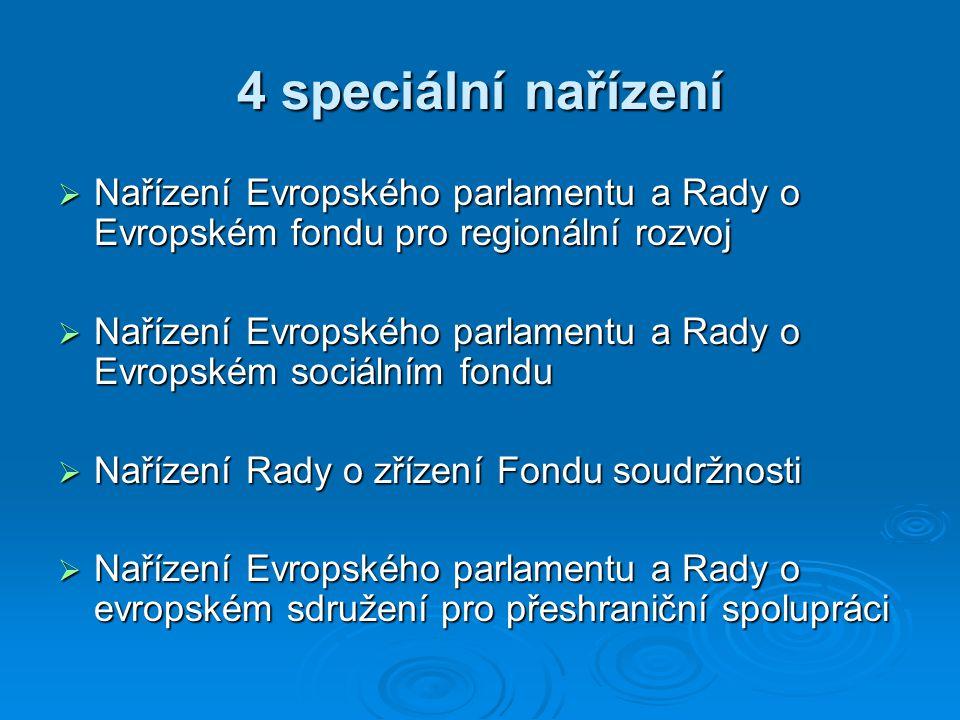 4 speciální nařízení  Nařízení Evropského parlamentu a Rady o Evropském fondu pro regionální rozvoj  Nařízení Evropského parlamentu a Rady o Evropském sociálním fondu  Nařízení Rady o zřízení Fondu soudržnosti  Nařízení Evropského parlamentu a Rady o evropském sdružení pro přeshraniční spolupráci