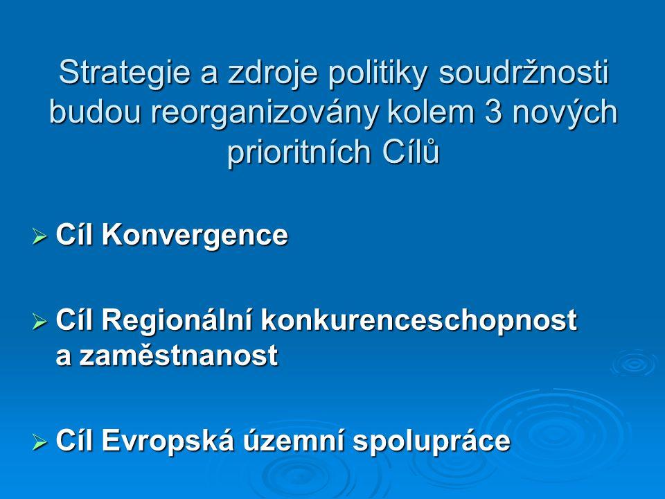 Strategie a zdroje politiky soudržnosti budou reorganizovány kolem 3 nových prioritních Cílů  Cíl Konvergence  Cíl Regionální konkurenceschopnost a zaměstnanost  Cíl Evropská územní spolupráce