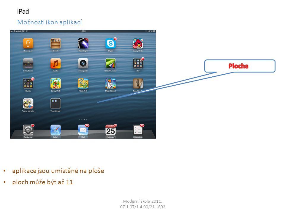 iPad Možnosti ikon aplikací aplikace jsou umístěné na ploše ploch může být až 11
