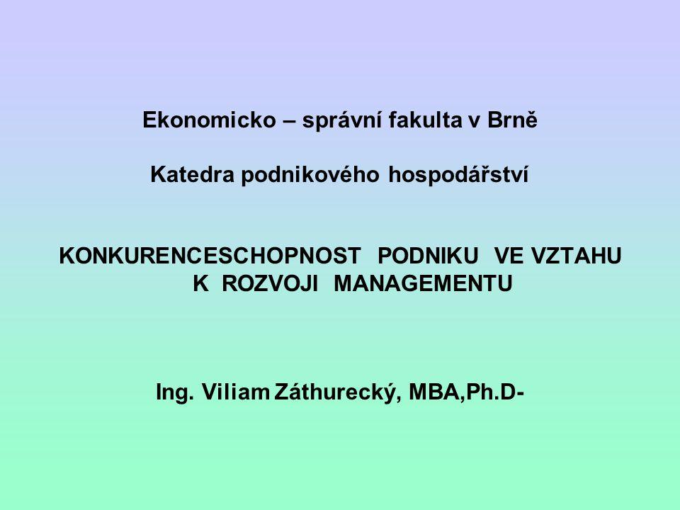 Anotace a základní myšlenky konkurenceschopnost Konkurenční výhoda Podnikatelské prostředí Management a jeho rozvoj Státní ekonomika a podniky