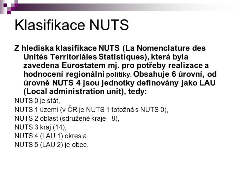 Klasifikace NUTS Z hlediska klasifikace NUTS (La Nomenclature des Unités Territoriáles Statistiques), která byla zavedena Eurostatem mj.