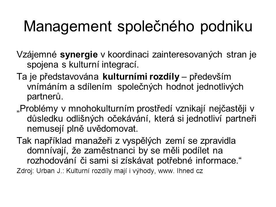 Management společného podniku Vzájemné synergie v koordinaci zainteresovaných stran je spojena s kulturní integrací.
