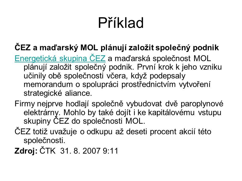 Příklad ČEZ a maďarský MOL plánují založit společný podnik Energetická skupina ČEZEnergetická skupina ČEZ a maďarská společnost MOL plánují založit sp
