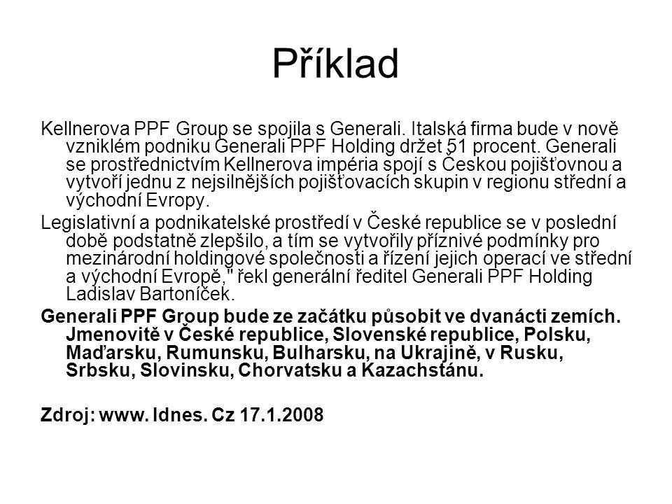 Příklad Kellnerova PPF Group se spojila s Generali. Italská firma bude v nově vzniklém podniku Generali PPF Holding držet 51 procent. Generali se pros