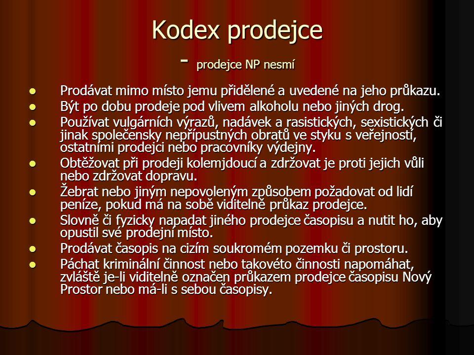 Kodex prodejce - prodejce NP nesmí Prodávat mimo místo jemu přidělené a uvedené na jeho průkazu. Prodávat mimo místo jemu přidělené a uvedené na jeho