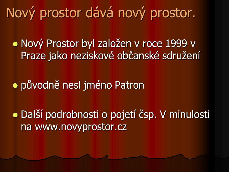 Nový prostor dává nový prostor. Nový Prostor byl založen v roce 1999 v Praze jako neziskové občanské sdružení původně nesl jméno Patron Další podrobno