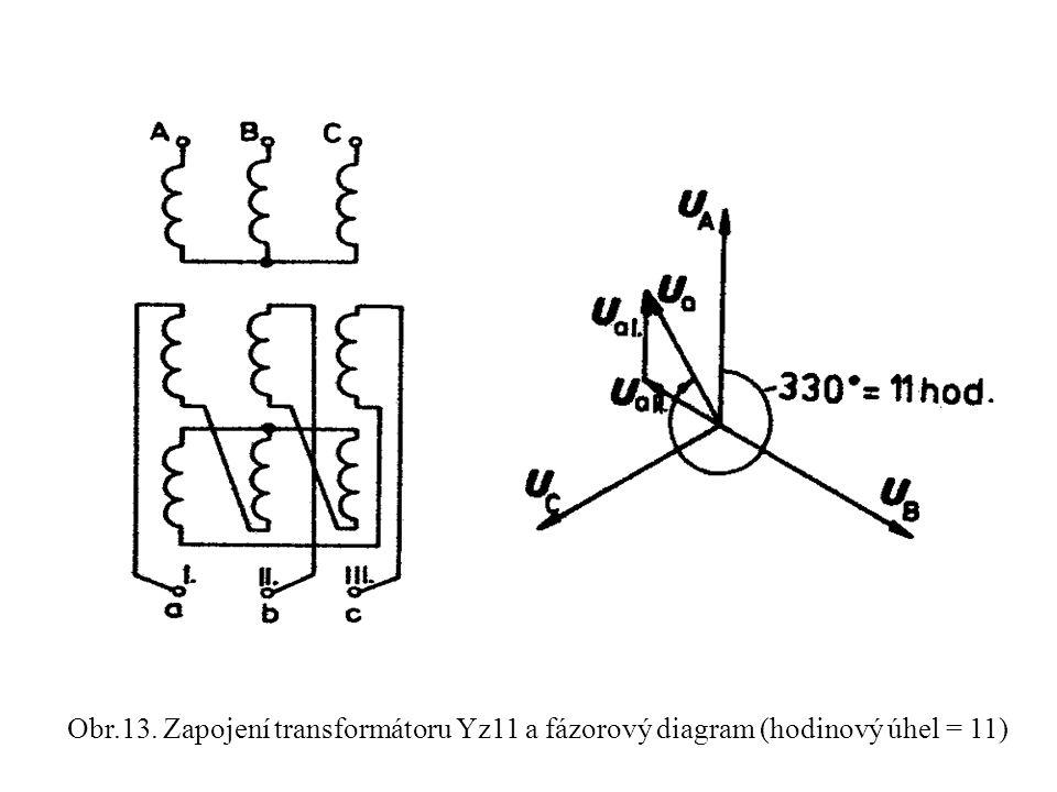 Obr.13. Zapojení transformátoru Yz11 a fázorový diagram (hodinový úhel = 11)