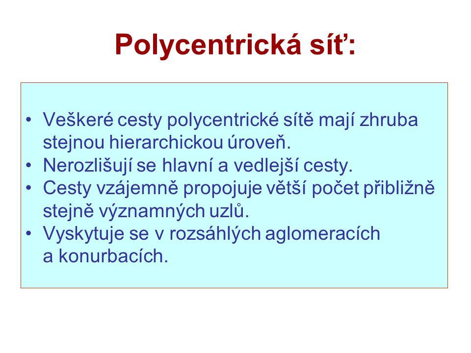 Polycentrická síť: Veškeré cesty polycentrické sítě mají zhruba stejnou hierarchickou úroveň.