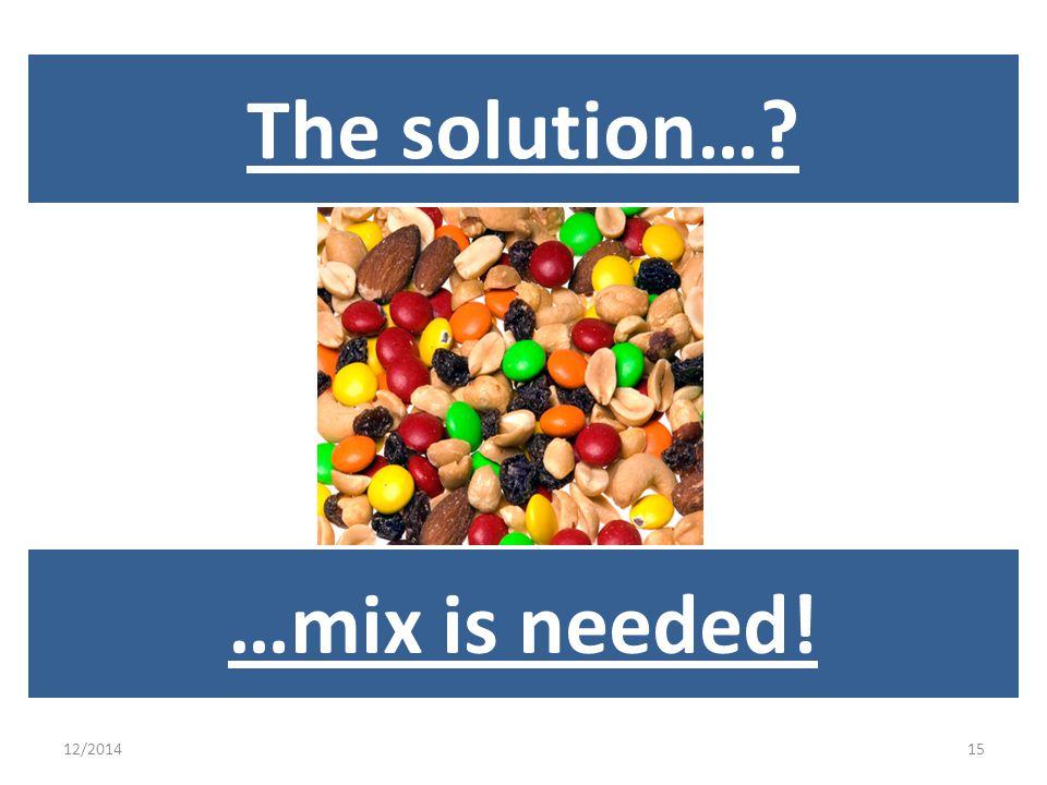 12/201415 …mix is needed! The solution…