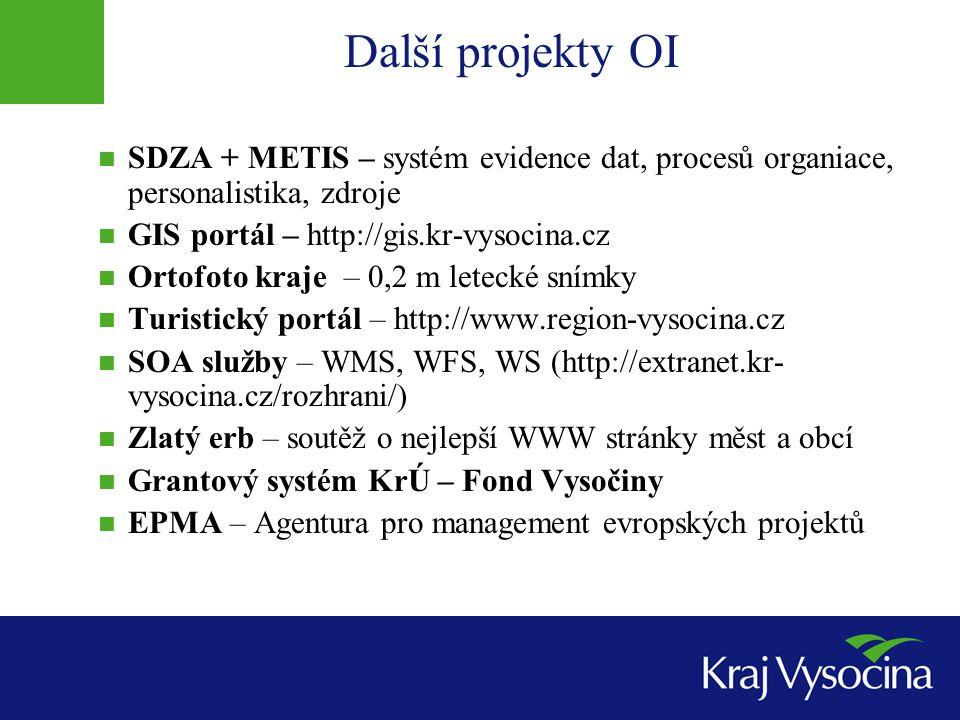 Další projekty OI SDZA + METIS – systém evidence dat, procesů organiace, personalistika, zdroje GIS portál – http://gis.kr-vysocina.cz Ortofoto kraje – 0,2 m letecké snímky Turistický portál – http://www.region-vysocina.cz SOA služby – WMS, WFS, WS (http://extranet.kr- vysocina.cz/rozhrani/) Zlatý erb – soutěž o nejlepší WWW stránky měst a obcí Grantový systém KrÚ – Fond Vysočiny EPMA – Agentura pro management evropských projektů