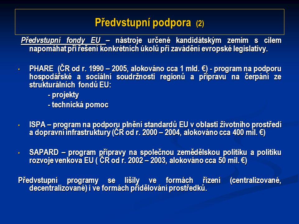 Předvstupní podpora (2) Předvstupní fondy EU – nástroje určené kandidátským zemím s cílem napomáhat při řešení konkrétních úkolů při zavádění evropské legislativy.
