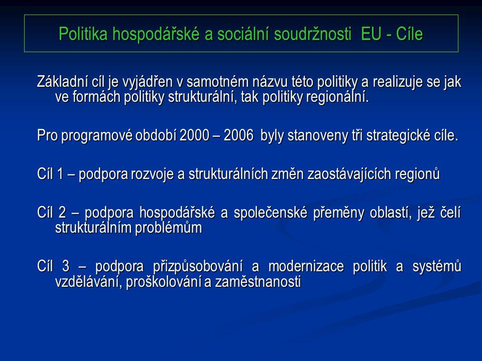 Politika hospodářské a sociální soudržnosti EU - Cíle Základní cíl je vyjádřen v samotném názvu této politiky a realizuje se jak ve formách politiky strukturální, tak politiky regionální.