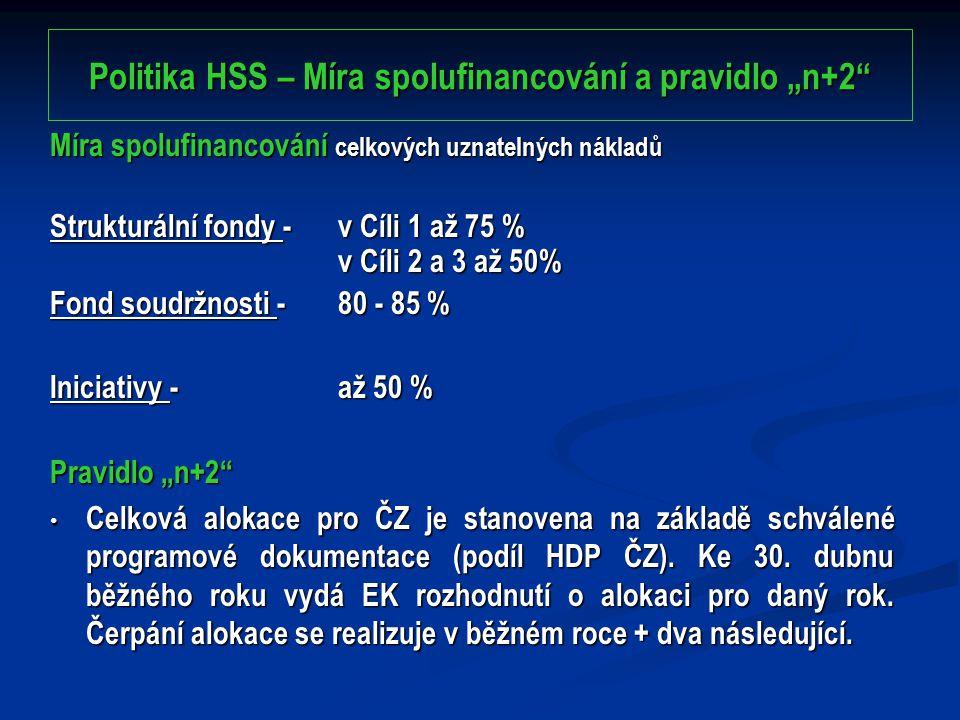 """Politika HSS – Míra spolufinancování a pravidlo """"n+2 Míra spolufinancování celkových uznatelných nákladů Strukturální fondy - v Cíli 1 až 75 % v Cíli 2 a 3 až 50% Fond soudržnosti - 80 - 85 % Iniciativy - až 50 % Pravidlo """"n+2 Celková alokace pro ČZ je stanovena na základě schválené programové dokumentace (podíl HDP ČZ)."""