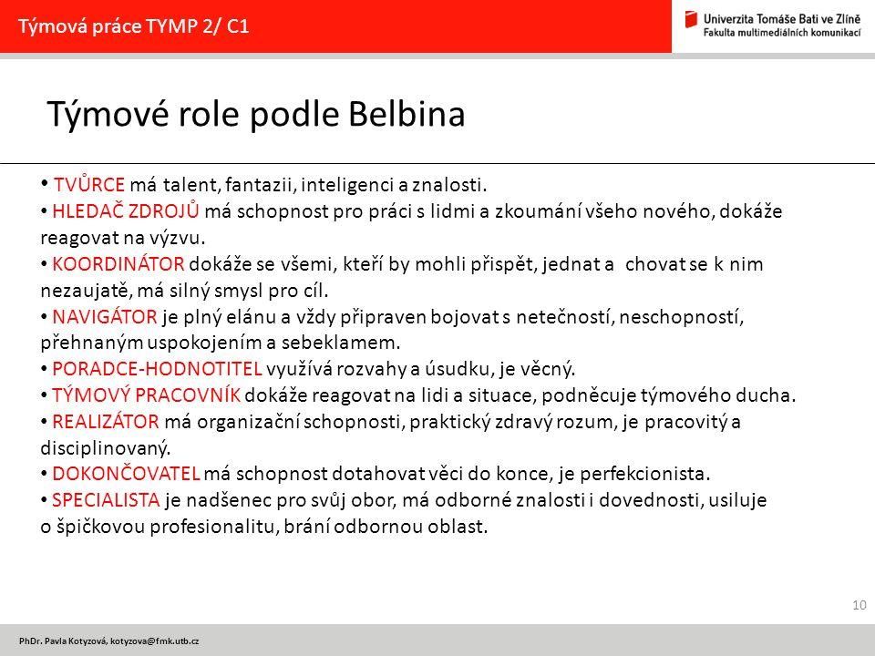 PhDr. Pavla Kotyzová, kotyzova@fmk.utb.cz Týmové role podle Belbina Týmová práce TYMP 2/ C1 TVŮRCE má talent, fantazii, inteligenci a znalosti. HLEDAČ