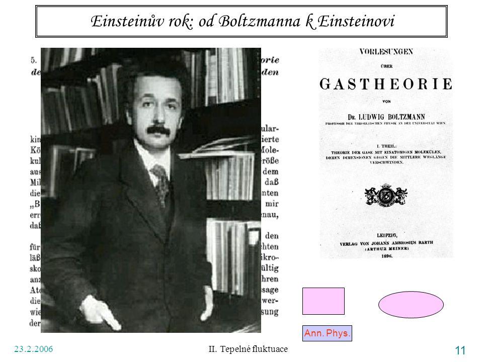 23.2.2006 II. Tepelné fluktuace 11 Einsteinův rok: od Boltzmanna k Einsteinovi Ann. Phys.