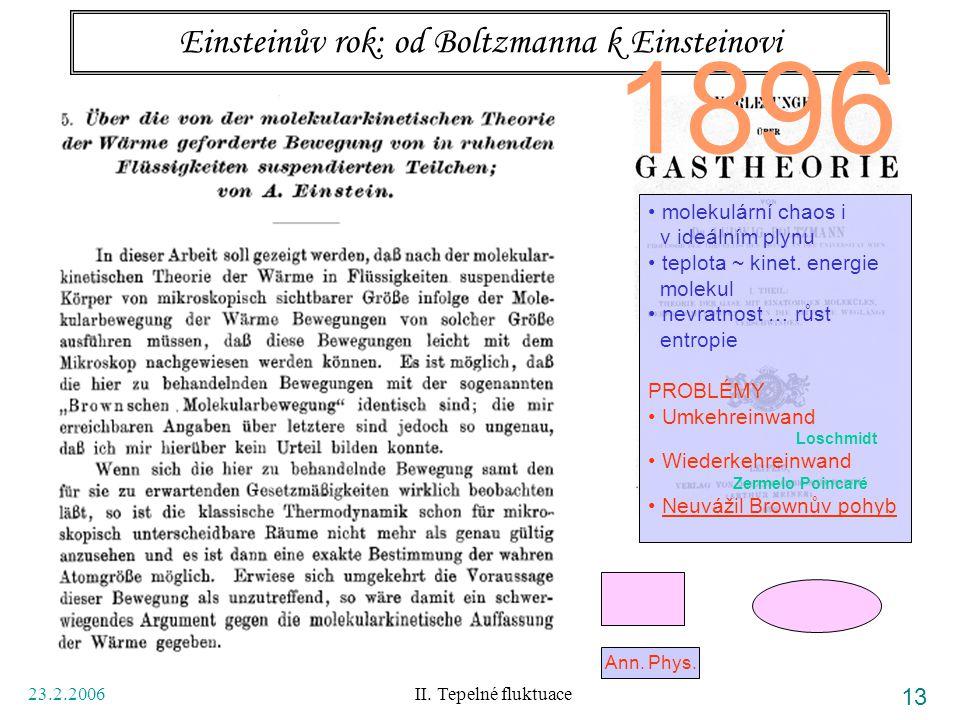 23.2.2006 II. Tepelné fluktuace 13 Einsteinův rok: od Boltzmanna k Einsteinovi Ann. Phys. 1896 molekulární chaos i v ideálním plynu teplota ~ kinet. e