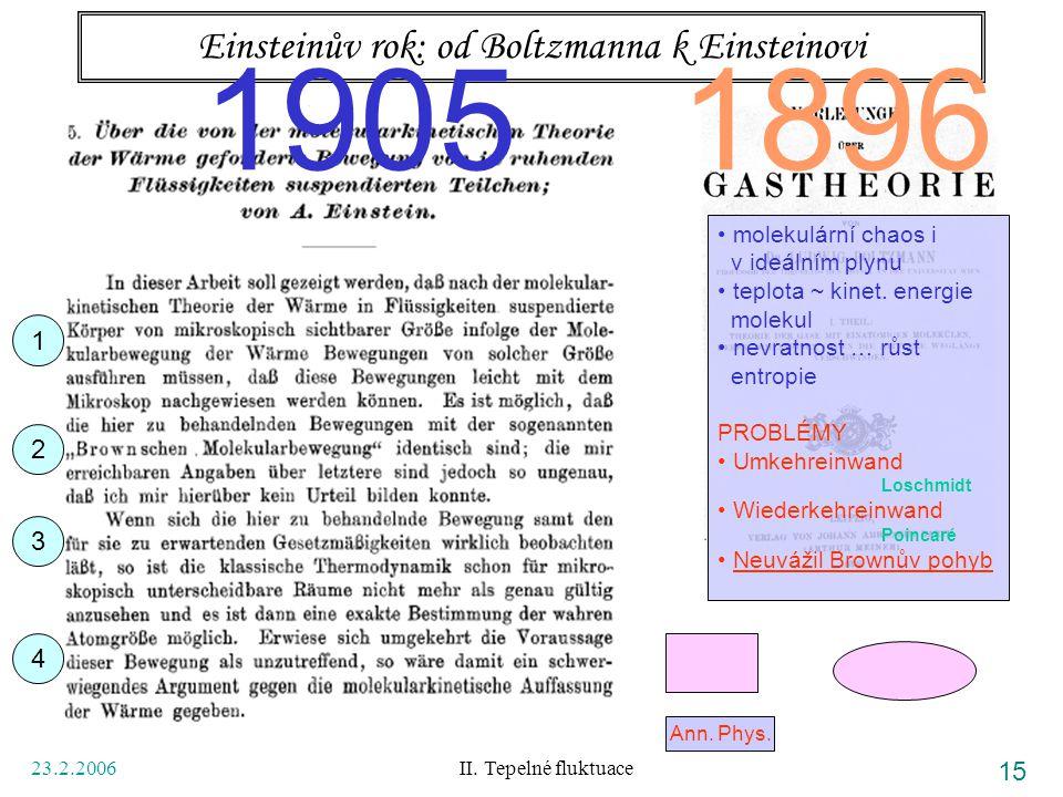 23.2.2006 II. Tepelné fluktuace 15 Einsteinův rok: od Boltzmanna k Einsteinovi Ann. Phys. 1896 molekulární chaos i v ideálním plynu teplota ~ kinet. e