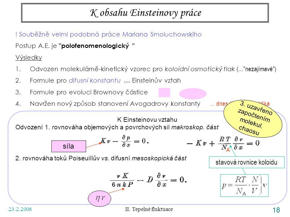 23.2.2006 II. Tepelné fluktuace 18 K obsahu Einsteinovy práce ! Souběžně velmi podobná práce Mariana Smoluchowskiho Postup A.E. je