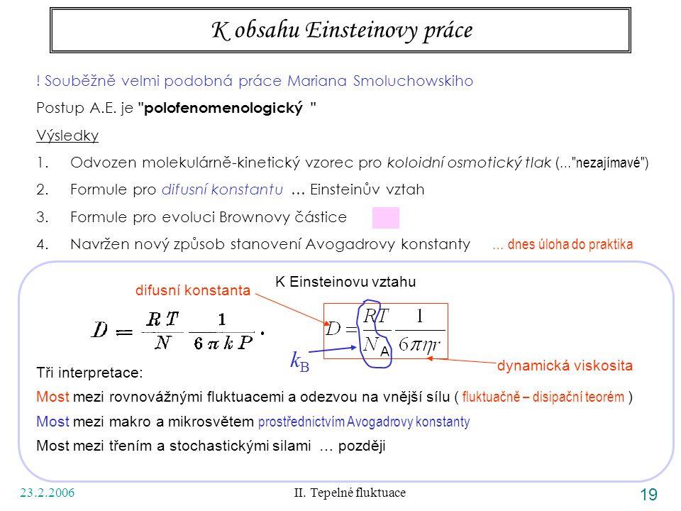 23.2.2006 II. Tepelné fluktuace 19 K obsahu Einsteinovy práce ! Souběžně velmi podobná práce Mariana Smoluchowskiho Postup A.E. je