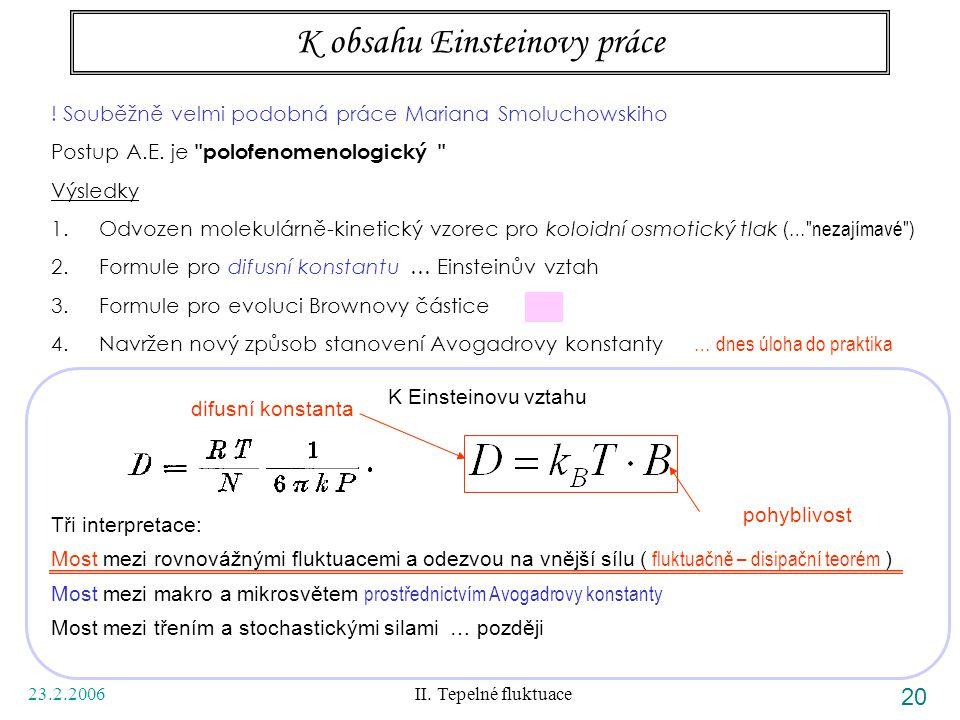 23.2.2006 II. Tepelné fluktuace 20 K obsahu Einsteinovy práce ! Souběžně velmi podobná práce Mariana Smoluchowskiho Postup A.E. je