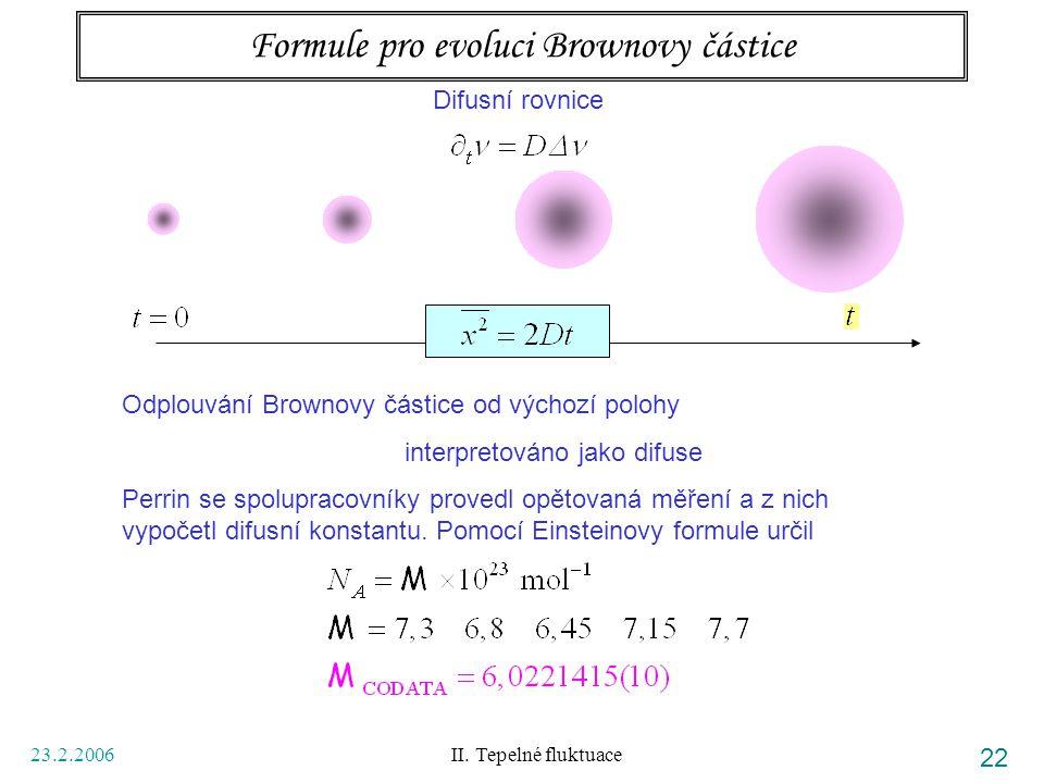 23.2.2006 II. Tepelné fluktuace 22 Formule pro evoluci Brownovy částice Difusní rovnice Odplouvání Brownovy částice od výchozí polohy interpretováno j