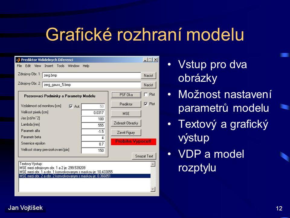 Jan Vojtíšek 12 Grafické rozhraní modelu Vstup pro dva obrázky Možnost nastavení parametrů modelu Textový a grafický výstup VDP a model rozptylu