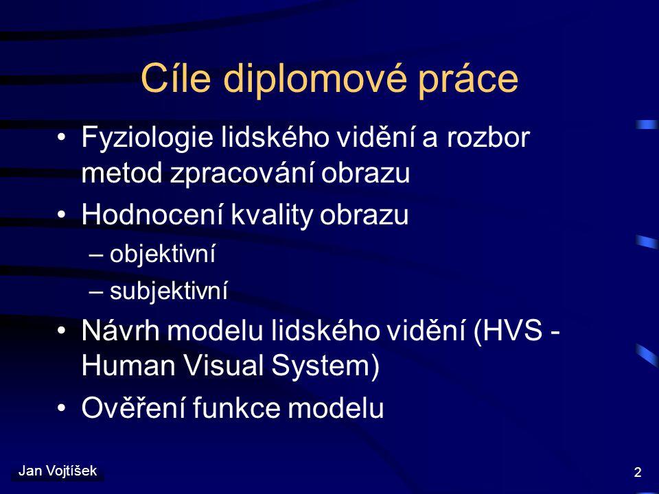 Jan Vojtíšek 2 Cíle diplomové práce Fyziologie lidského vidění a rozbor metod zpracování obrazu Hodnocení kvality obrazu –objektivní –subjektivní Návr