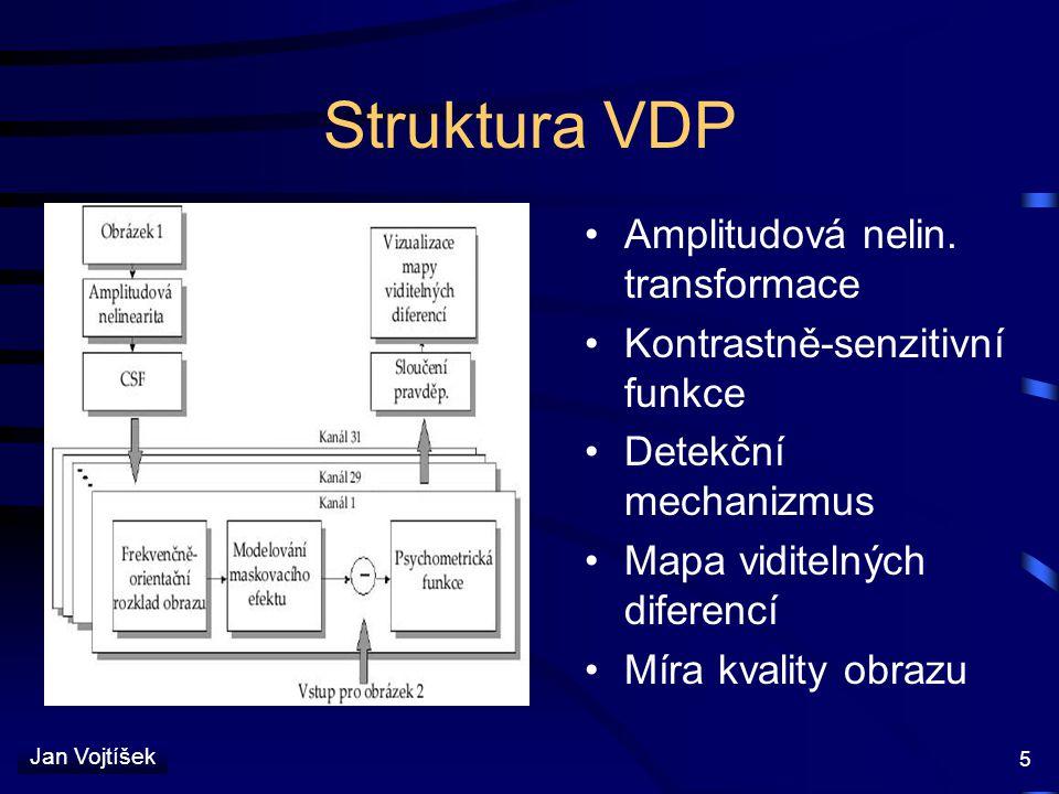 Jan Vojtíšek 5 Struktura VDP Amplitudová nelin. transformace Kontrastně-senzitivní funkce Detekční mechanizmus Mapa viditelných diferencí Míra kvality