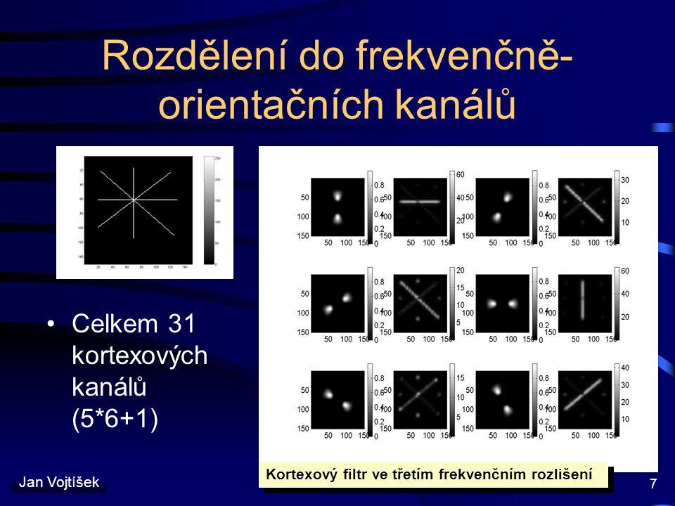 Jan Vojtíšek 7 Rozdělení do frekvenčně- orientačních kanálů Celkem 31 kortexových kanálů (5*6+1) Kortexový filtr ve třetím frekvenčním rozlišení