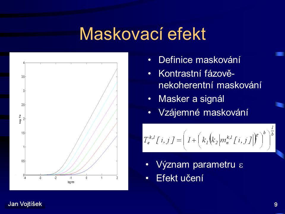 Jan Vojtíšek 9 Maskovací efekt Definice maskování Kontrastní fázově- nekoherentní maskování Masker a signál Vzájemné maskování Význam parametru  Efek