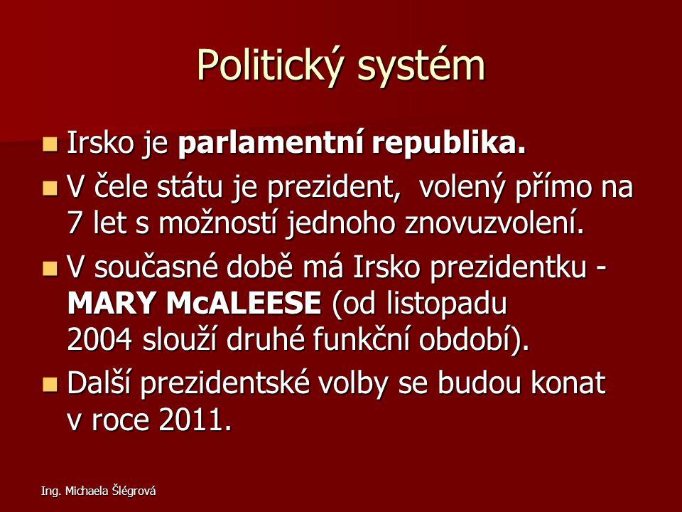 Ing. Michaela Šlégrová Politický systém Irsko je parlamentní republika. Irsko je parlamentní republika. V čele státu je prezident, volený přímo na 7 l