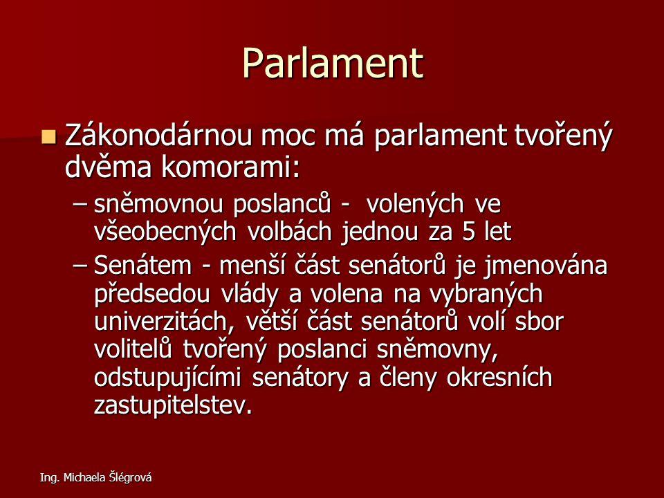 Ing. Michaela Šlégrová Parlament Zákonodárnou moc má parlament tvořený dvěma komorami: Zákonodárnou moc má parlament tvořený dvěma komorami: –sněmovno