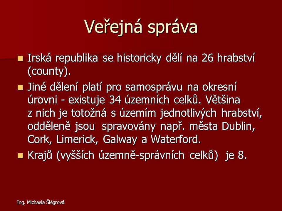 Ing. Michaela Šlégrová Veřejná správa Irská republika se historicky dělí na 26 hrabství (county). Irská republika se historicky dělí na 26 hrabství (c