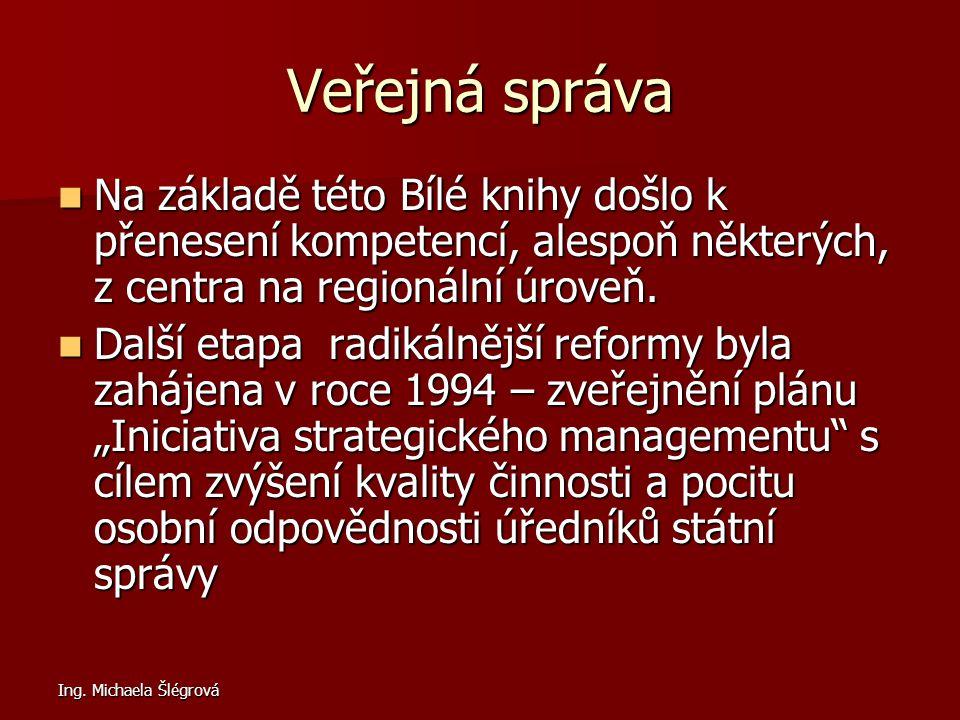 Ing. Michaela Šlégrová Veřejná správa Na základě této Bílé knihy došlo k přenesení kompetencí, alespoň některých, z centra na regionální úroveň. Na zá