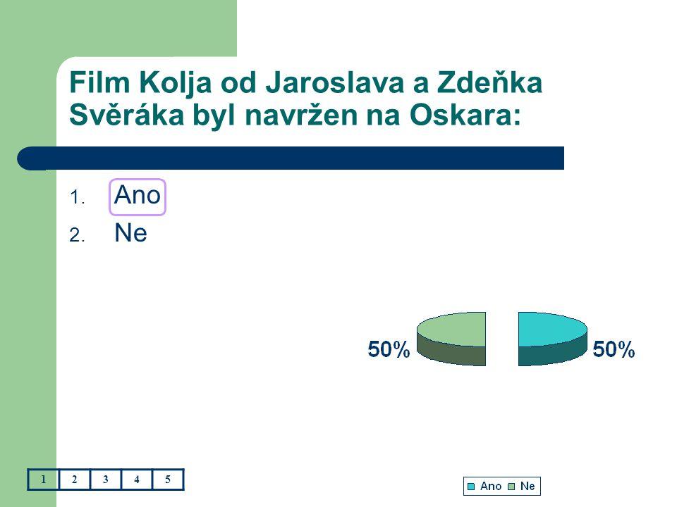 Film Kolja od Jaroslava a Zdeňka Svěráka byl navržen na Oskara: 1. Ano 2. Ne 12345