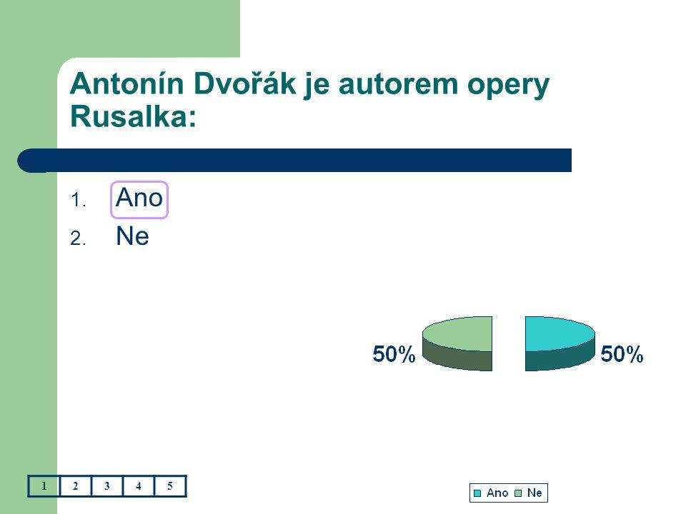 Antonín Dvořák je autorem opery Rusalka: 1. Ano 2. Ne 12345