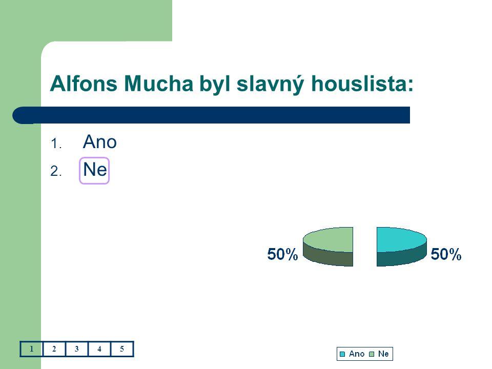 Alfons Mucha byl slavný houslista: 1. Ano 2. Ne 12345