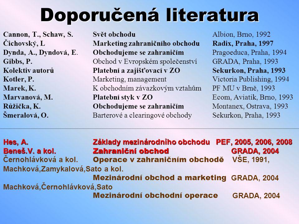 Doporučená literatura Cannon, T., Schaw, S.Svět obchodu Albion, Brno, 1992 Čichovský, LMarketing zahraničního obchodu Radix, Praha, 1997 Dynda, A., Dy