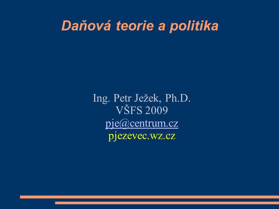 Témata Daň, charakteristika a funkce, daňový systém Daňové principy; klasické a moderní pojetí, daňová spravedlnost a efektivnost Úplné a neúplné daňové systémy, paušální daň Daňový přesun a dopad, modelové a reálné situace Daňové reformy, příčiny, koncepce a efekty Daňová politika EU – limity pro národní politiku Daňová politika ČR od roku 1993 Vybrané problémy a jejich diskuse