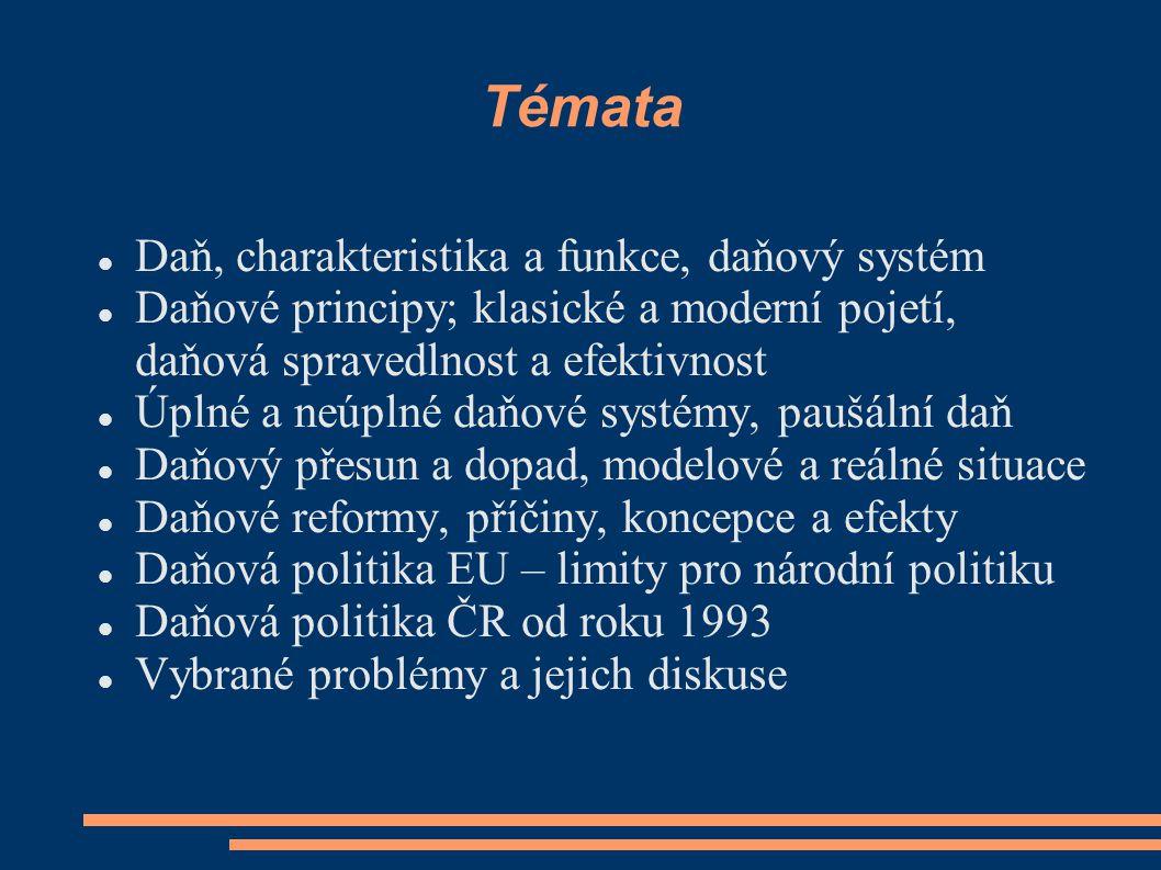 Témata Daň, charakteristika a funkce, daňový systém Daňové principy; klasické a moderní pojetí, daňová spravedlnost a efektivnost Úplné a neúplné daňo