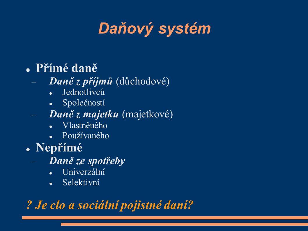 Daňový systém Přímé daně  Daně z příjmů (důchodové) Jednotlivců Společností  Daně z majetku (majetkové) Vlastněného Používaného Nepřímé  Daně ze sp